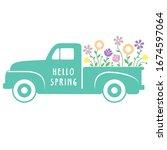 colorful retro spring flower... | Shutterstock .eps vector #1674597064