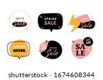 cartoon spring label set ... | Shutterstock .eps vector #1674608344
