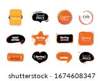 cartoon label set  vector... | Shutterstock .eps vector #1674608347