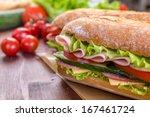ciabatta sandwich with lettuce  ... | Shutterstock . vector #167461724