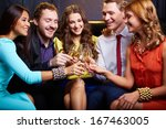 group of friends toasting with... | Shutterstock . vector #167463005