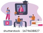 online courses and e learning... | Shutterstock .eps vector #1674638827
