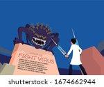vector illustration fight covid ... | Shutterstock .eps vector #1674662944