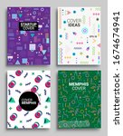 memphis style poster set.... | Shutterstock .eps vector #1674674941
