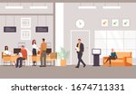bank office interior and client ... | Shutterstock .eps vector #1674711331