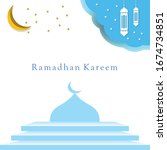 ramadan kareem. arabic mosque... | Shutterstock .eps vector #1674734851