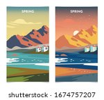 spring landscape at sunrise and ... | Shutterstock .eps vector #1674757207