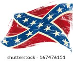 Confederate flag grunge.A confederate flag in the wind with a texture - stock vector