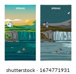 spring landscape at day and... | Shutterstock .eps vector #1674771931