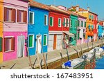 burano colorful houses on a... | Shutterstock . vector #167483951