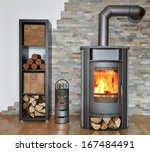 Wood Fired Stove With Fire Wood ...