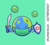 world fight corona virus vector ... | Shutterstock .eps vector #1674856567
