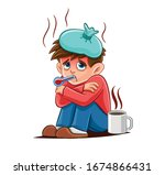 person with fever cartoon... | Shutterstock .eps vector #1674866431