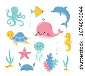 cute sea creatures and animals... | Shutterstock .eps vector #1674893044
