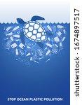 stop ocean plastic pollution....   Shutterstock .eps vector #1674897517