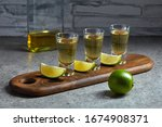 Three Glasses Of Golden Tequila ...