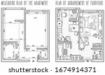 architectural measuring plan of ... | Shutterstock .eps vector #1674914371