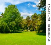 beautiful summer garden with... | Shutterstock . vector #1674934471