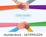 teamwork  different people of... | Shutterstock .eps vector #1674941224