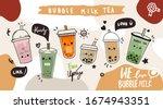 bubble milk tea cup design... | Shutterstock .eps vector #1674943351