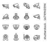 fixed cctv  video surveillance  ... | Shutterstock .eps vector #1674943594