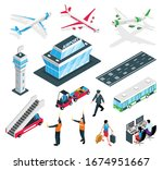 isometric airport set with... | Shutterstock .eps vector #1674951667