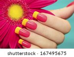 Two Tone Manicure With Pink An...