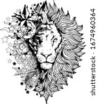 lion face tattoo vector graphic ... | Shutterstock .eps vector #1674960364