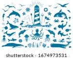 vector nautical set with... | Shutterstock .eps vector #1674973531