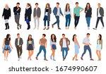 cartoon men and women walking... | Shutterstock .eps vector #1674990607