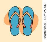 beach slippers cartoon... | Shutterstock .eps vector #1674997537