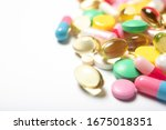 a lot of multi colored pills on ... | Shutterstock . vector #1675018351