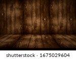 dark brown wood wall and floor... | Shutterstock . vector #1675029604