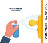 close up disinfection of door...   Shutterstock .eps vector #1675049977