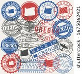oregon  usa set of stamps.... | Shutterstock .eps vector #1675062421