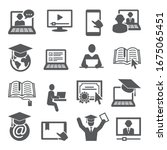 Online Education Icons Set On...