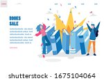 big book sale. book store and... | Shutterstock .eps vector #1675104064