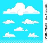 cartoon pixel art clouds set   Shutterstock .eps vector #1675132801