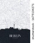skyline and city map of berlin  ... | Shutterstock .eps vector #1675134271