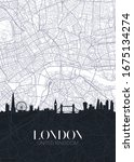 skyline and city map of london  ... | Shutterstock .eps vector #1675134274