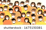 masked people  crowds  virus... | Shutterstock .eps vector #1675150381
