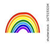 bright cartoon rainbow icon.... | Shutterstock .eps vector #1675153234