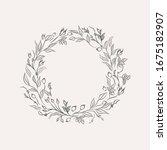 line drawing ornate wreath ... | Shutterstock .eps vector #1675182907