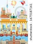 vertical berlin skyline travel... | Shutterstock .eps vector #1675187161