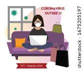 coronavirus outside. online... | Shutterstock .eps vector #1675205197