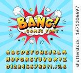 comic book alphabet. retro... | Shutterstock . vector #1675206697