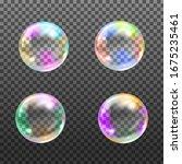 flying rainbow transparent soap ...   Shutterstock .eps vector #1675235461
