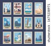 Travel Postage Stamps. Vintage...