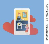 long distance relationship cute ... | Shutterstock .eps vector #1675256197
