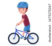 Boy Riding A Bmx Bike. Vector...